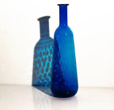 SOLD - Hammered Blue Glass Vase, 1970s