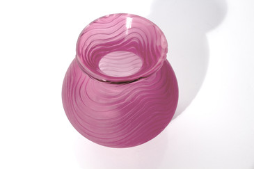 Rose Colored Etched Vase