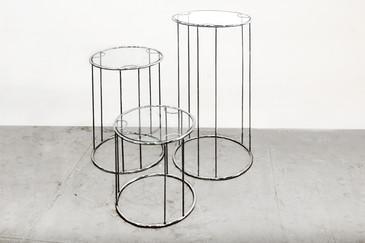 SOLD - Milo Baughman Chrome & Glass Nesting Tables. C. 1960