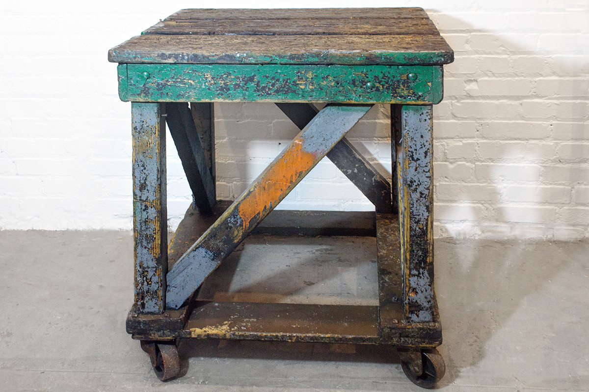 Beautiful 1920s Wood Rolling Factory Table