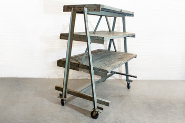 SOLD - Three-Tier Industrial Rolling Rack, circa 1925