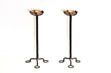 Twisted Steel and Copper Candlesticks