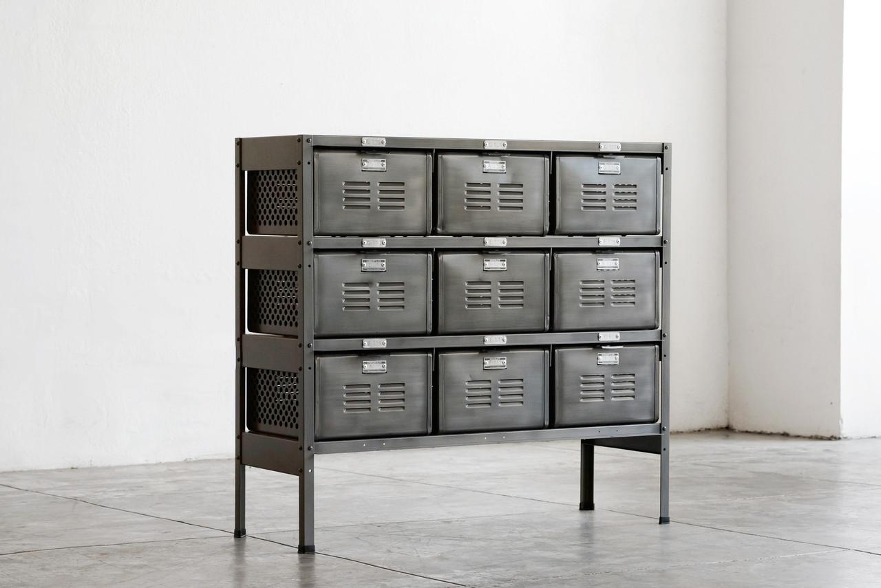 Awesome 3 X 3 Vintage Locker Basket Unit In Monochrome Natural Steel