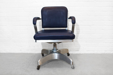 SOLD - Emeco Solid Back Aluminum Steno Chair. C. 1955