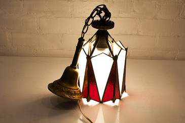 Art Deco Stained Glass Pendant Lamp, circa 1920