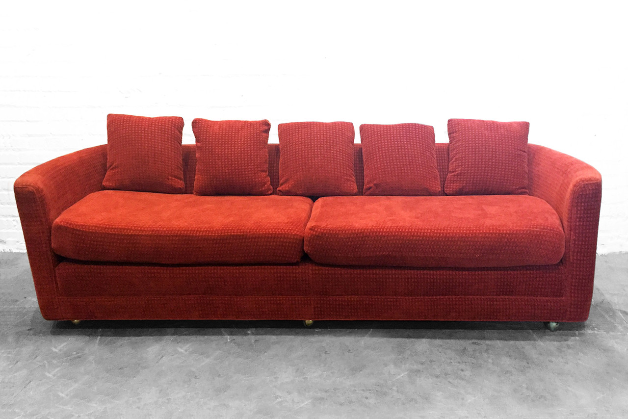 SOLD   Custom Mid Century Sofa In Rust Colored Chenille