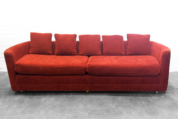 Custom Mid-Century Sofa in Rust colored Chenille