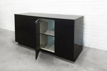 Two Sleek Black Formica Storage Cabinets