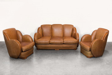 Art Deco Sofa an Armchair Set, circa 1925