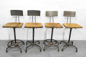 Set of Four Adjusto Equipment Industrial Stools, circa 1940