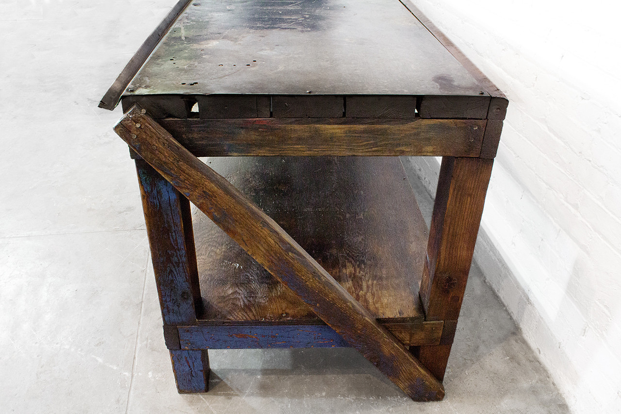 industrial wood furniture. SOLD - 1940s Industrial Wood And Metal Workbench Furniture