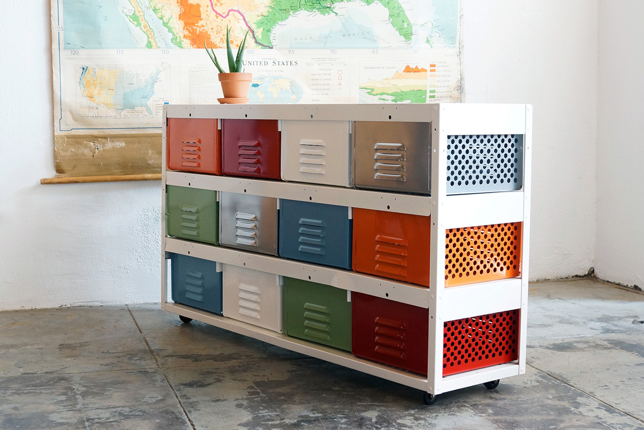 4 X 3 Vintage Locker Basket Unit, Multicolored With Casters