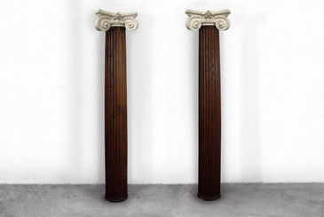 SOLD - Carved Oak Pillar with Plaster Capital