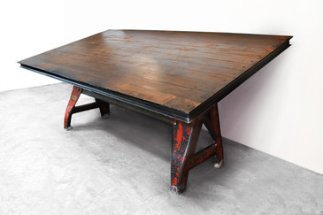 Massive Industrial Drafting Conference Table