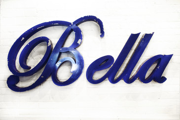 "Vintage Aluminum ""Bella"" Sign in Script C. 1950"