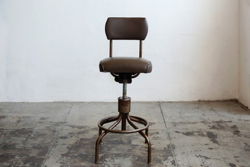 SOLD - Vintage Machine Age Drafting Stool with Back