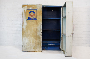 SOLD - Vintage Delco Parts Display Cabinet, 1960s