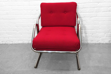 SOLD-Jerry Johnson Arcadia Chrome Sling Chair, 1970s
