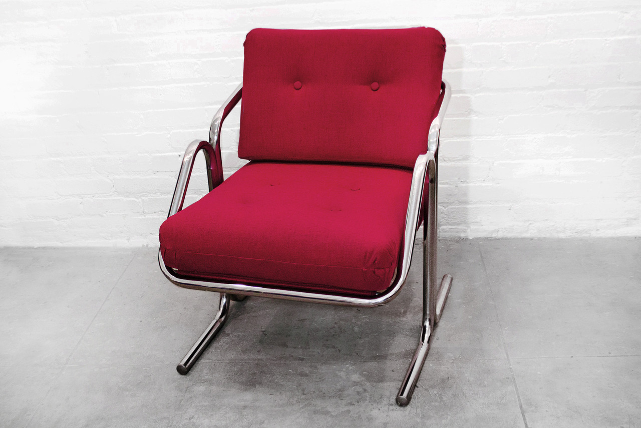 SOLD Jerry Johnson Arcadia Chrome Sling Chair, 1970s