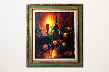 Still Life Oil Painting of Wine & Fruit by Stu. 1970s