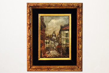 """Petit"" oil painting of European street scene. 1970s Made in Taiwan."