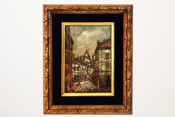 """Petit"" oil painting of European street scene. 1970s Made in Taiwan."