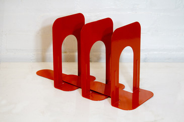 Set of Three Vintage Bookends, Safety Orange, 1990