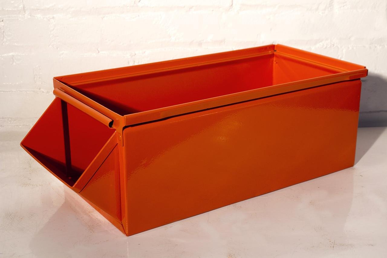 SOLD   Industrial Storage Bin In Safety Orange, 1930s