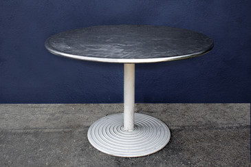 Round Stainless Cafe Table on Cast Aluminum Base, circa 1960s