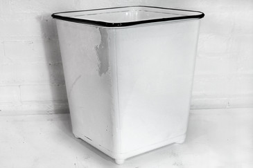 SOLD - Machine Age Steel Trash Can in Gloss White, circa 1930s