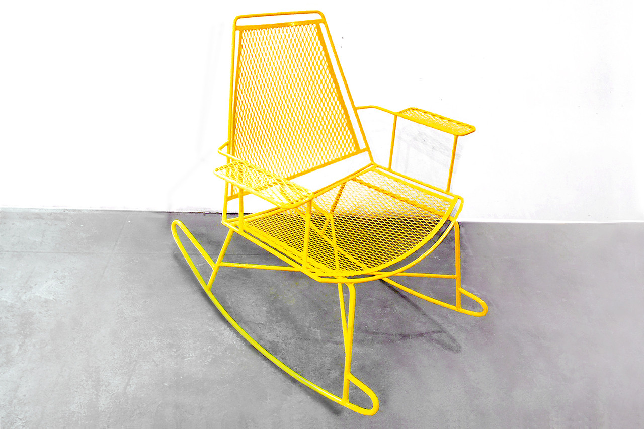 SOLD   Mid Century Metal Mesh Patio Rocking Chair