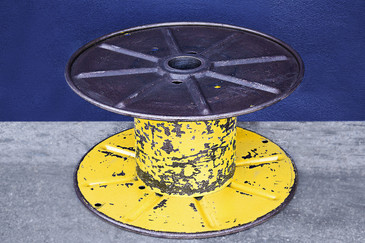 Vintage Steel Cable Spool in Bright Yellow, circa 1960s