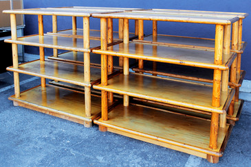 Custom Hand-Crafted Wood Shelving Units, circa 1970s