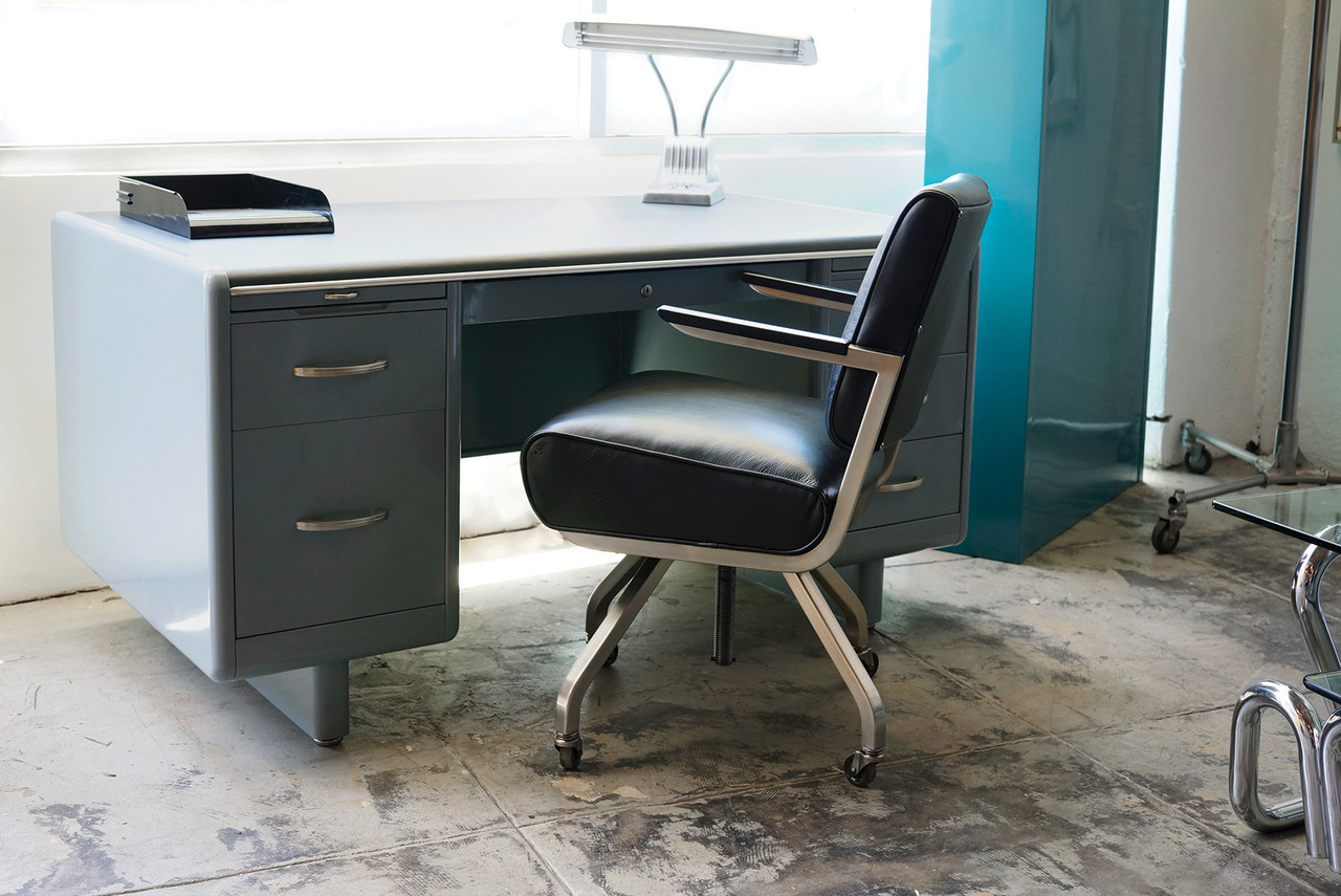 SOLD   Royal Metal Large Leather Office Armchair, 1960s