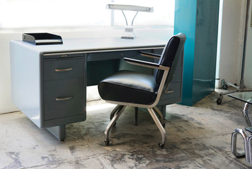 SOLD - Royal Metal Large Leather Office Armchair, 1960s