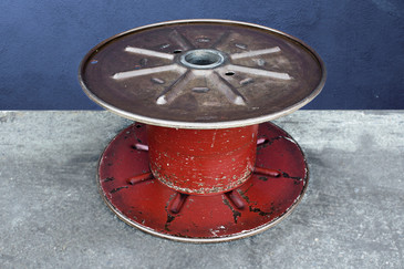 Vintage Steel Cable Spool Bright Red, circa 1960s
