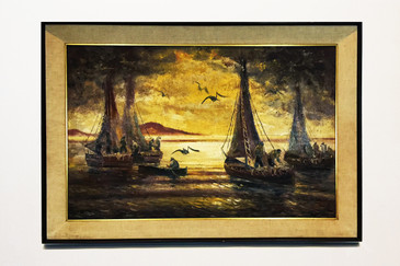 Signed Seascape Oil Painting with Sailboats, circa 1960s