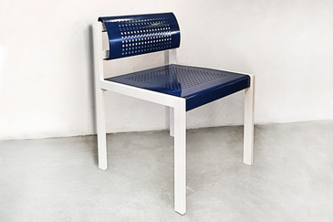 Modern Steel Patio Chair with Perforated Seat and Back, circa 2000