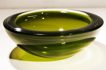SOLD - Large, Lime Green Murano Geode Glass Bowl