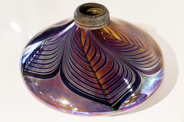 SOLD - Hartman Pulled Feather Art Glass Oil Lamp