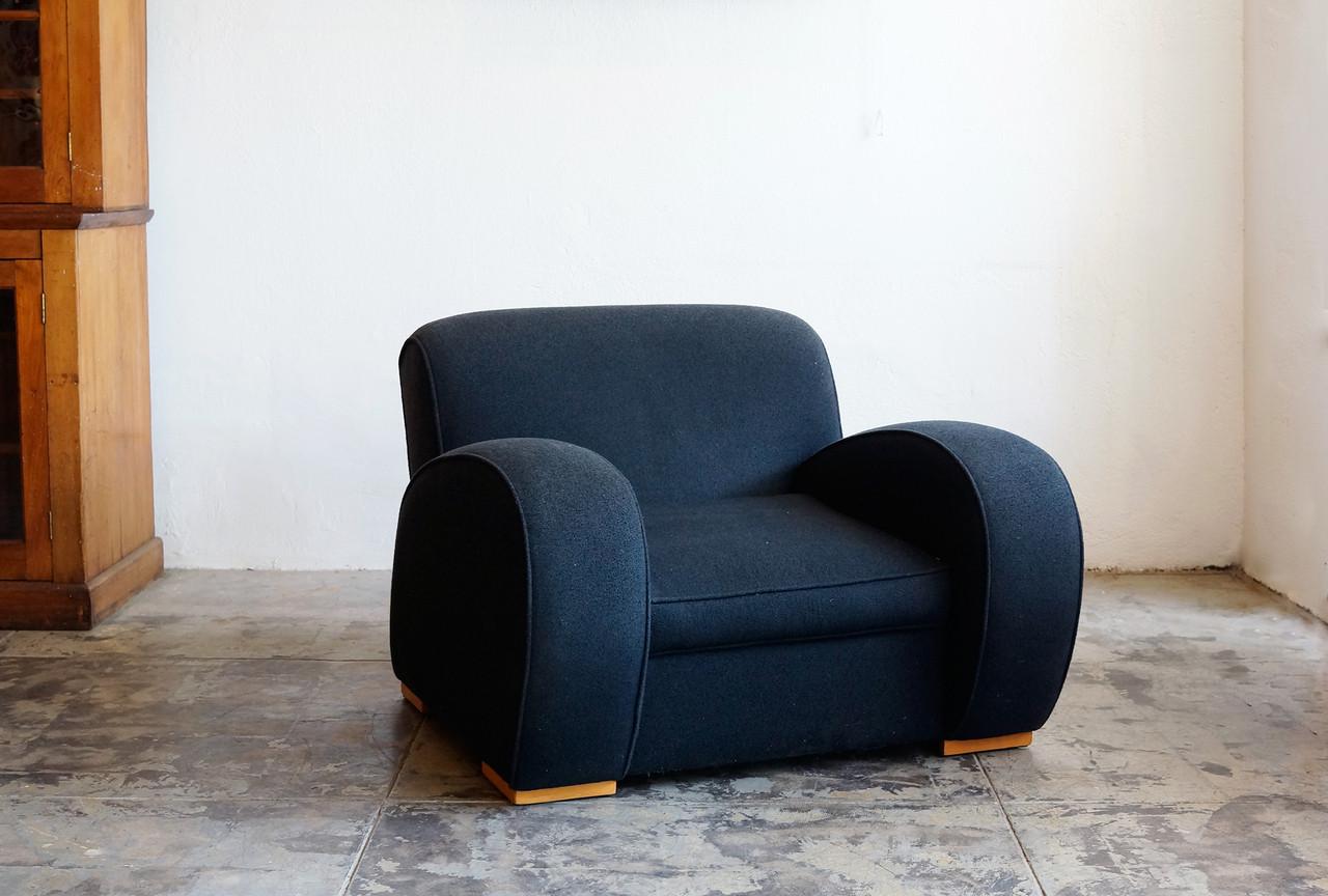 SOLD   1930s Art Deco Massive Streamline Club Chair