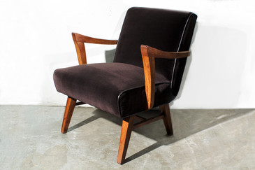 Wormley for Dunbar Style Armchair in Brown Micro Velvet.