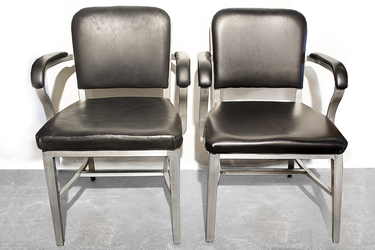 sold pair of emeco aluminum solid back arm chairs 1950s rehab