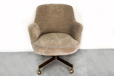 SOLD - Faultless-Doerner MCM Bucket Office Chair in Chenille, circa 1970