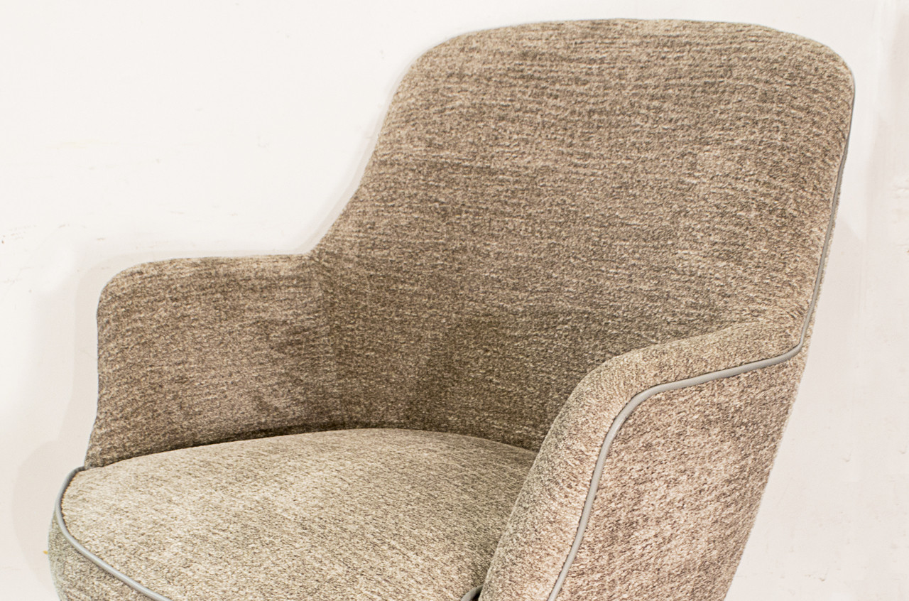 SOLD   Faultless Doerner MCM Bucket Office Chair In Chenille, Circa 1970