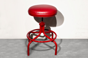 SOLD - Vintage Counter Stool in Fire Engine Red, circa 1960