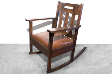 SOLD - Stickley Style Rocking Chair with Brown Leather, circa 1925
