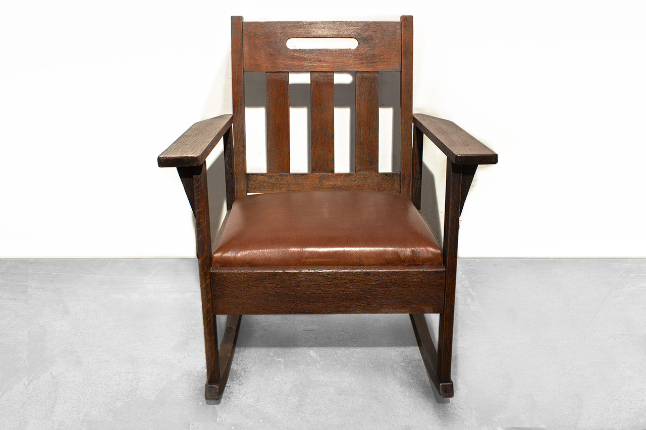 SOLD   Stickley Style Rocking Chair With Brown Leather, Circa 1925