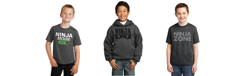 Product Photos: 3 boys wearing different Ninja apparel.
