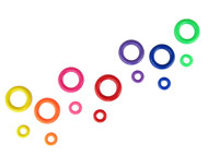 "The two sizes (1"" & 2"")of Marbella Circles shown together in all their colours"